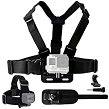 CamKix Body Mount Bundle for Gopro Hero 5 / 4, Session, Black, Silver, Hero+ LCD, 3+, 3, 2, 1 – Chest Harness Mount / Head Strap Mount / Wrist Mount / J-Hook / Thumbscrew / Storage Bag