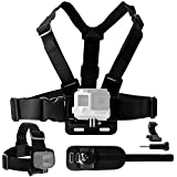 Body Mount Bundle for Gopro Hero 6, 5, Black Session, Hero 4, Session, Black, Silver, Hero+ LCD, 3+, 3, 2, 1 - Chest Harness Mount / Head Strap Mount / Wrist Mount / J-Hook / Thumbscrew / Bag