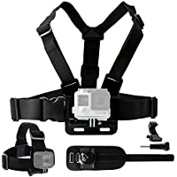 Body Mount Bundle for Gopro Hero 5, Black Session, Hero 4, Session, Black, Silver, Hero+ LCD, 3+, 3, 2, 1 – Chest Harness Mount / Head Strap Mount / Wrist Mount / J-Hook / Thumbscrew / Storage Bag