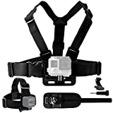 Body Mount Bundle for Gopro Hero 5 - Black Session - Hero 4 - Session - Black - Silver - Hero+ LCD - 3+ - 3 - 2 - 1 – Chest Harness Mount Head Strap Mount Wrist Mount J-Hook Thumbscrew Storage Bag