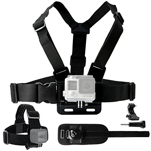 ndle compatible with Gopro Hero 7, 6, 5, Black Session, Hero 4, Session, Black, Silver, Hero+ LCD, 3+, 3, 2, 1 - Chest Harness Mount/Head Strap Mount/Wrist Mount/J-Hook ()