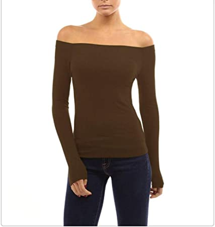 Kai Camiseta De Mujer Color Sólido Cuello Largo Manga Larga Camisa Sexy Delgada (Color : Coffee Color, Size : S): Amazon.es: Hogar