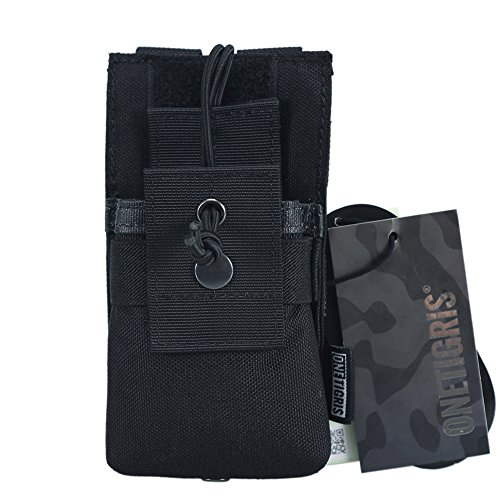 OneTigris MOLLE Radio Holder Tactical Cordura Nylon Short Radio Pouch for BaoFeng UV-5R/UV-82 (Black) (Radio Holders)
