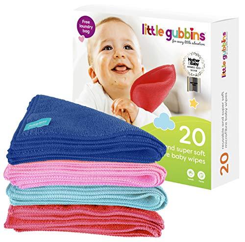 🥇 20 toallitas para bebé MICROFIBRA de Little Gubbins   Paquete de paños secos sin aroma