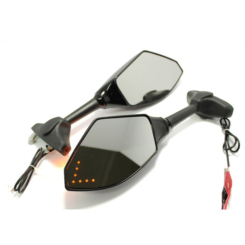 Scrub Black+Clear Lens Devilmotor Pair of Motorcycle Led Turn Signal Integrated Indicator Rearview Mirrors for Racing Bike Sport Bike