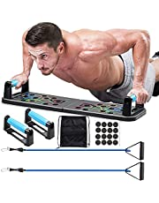 AOAS Push Up Board, 13 In 1 Foldable Multifunction Home Workout Fitness Equipment, Multifunctional Color Coded Fitness Pushup Stands with Exercise bands, for Indoor, Outdoor Muscle Training