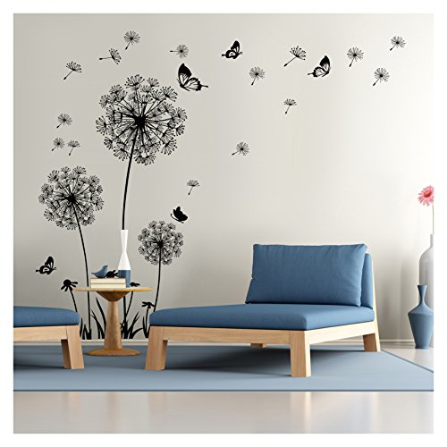 Dandelion Wall Decal - Wall Stickers Dandelion Art Decor- Vinyl Large Peel and Stick Mural, Removable by Dooboe
