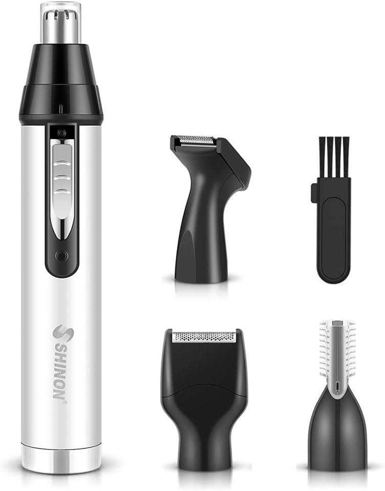 Cortapelos Nariz, Recortador de Vello Nariz/Orejas/Barba/Ceja, 4 en 1 USB Recargable Set de Depiladora con 4 Cabezas de Reemplazo de Acero Inoxidable, Hojas de Doble filo para Fácil Limpieza