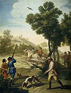 polyster Canvas ,the High quality Art Decorative Canvas Prints of oil painting 'Goya y Lucientes Francisco de A Hunting Party 1775 ', 8 x 10 inch / 20 x 26 cm is best for Game Room decoration and Home decor and Gifts