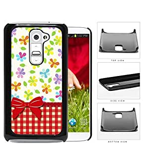 Flowers And Leaves With Red Plaid Hard Plastic Snap On Cell Phone Case LG G2