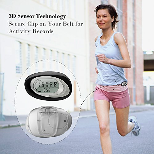 HAPTIME 3D Pedometer with Clip and Strap, Accurately Counting Steps/ Distance/ Calorie, Large Display, Daily Target Monitor, 7 Days Memory and Activity Time for Walking Jogging Running