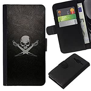 Stuss Case / Funda Carcasa PU de Cuero - Leather Skull Flag Ship Mar Negro - Samsung Galaxy Core Prime