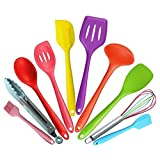 Silicone Kitchen Baking Set - Spatula Utensil Set Heat-Resistant Non-Stick Cooking Baking Utensils with Hygienic Solid Coating Spatula Set 10 Pieces