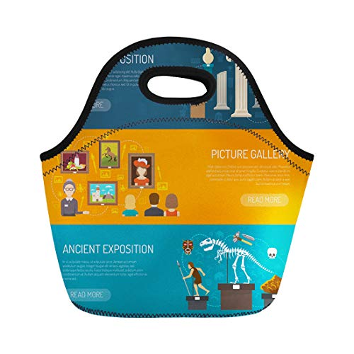 Semtomn Lunch Bags Ticket Museum Exhibits of Archaeological Finds and Antique Expositions Neoprene Lunch Bag Lunchbox Tote Bag Portable Picnic Bag Cooler Bag