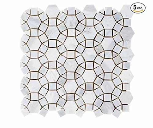Carrara Hexagon Marble with Mix Circulos Mother of Pearl Tiles On Mosaic Sheet (Pack of 5 sheets) by Vogue Tiles