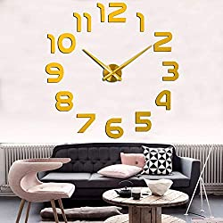 FASHION in THE CITY 3D DIY Mirror Surface Wall Clock Large Size Wall Decorative Clocks Silent Non Ticking Movement Clock Hands (Gold)