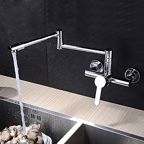 Contemporary Pot Filler Wall Mounted Rotatable Ceramic Valve Single Handle Two Holes Chrome, Kitchen faucet ()
