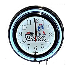 Lotus energy New England Patriots 13 Double Neon Wall Clock Sweep Movement Pull Chain Garage