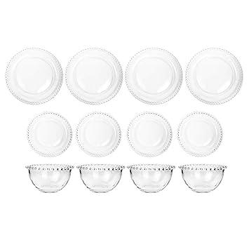 Bella Perle 4 persona mesa sentado Set de regalo de cristal plato llano, plato de