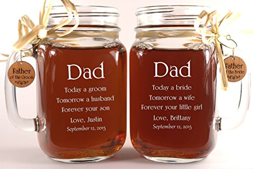 Dad Wedding Gift Mason Jars, Father of the Groom Gift, Father of the Bride Gift, Personalized Engraved Wedding Favors Mason Jars