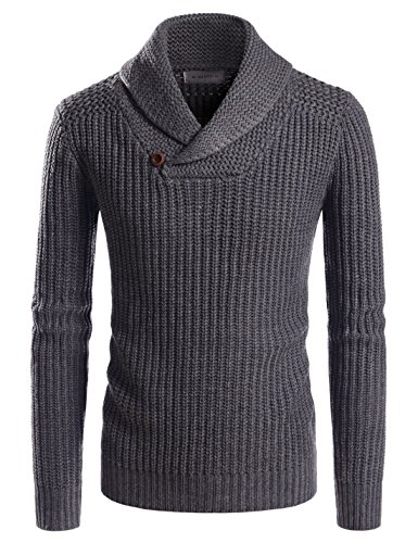 NEARKIN (NKNKKN701) Mens Ribbed Wool Blend Pullover Shawl Collar Knitted Sweaters CHARCOAL US S(Tag size S)