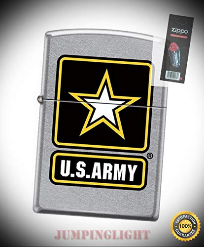 - 7221 United States Army Logo Street Chrome Finish Lighter with Flint Pack - Premium Lighter Fluid (Comes Unfilled) - Made in USA!