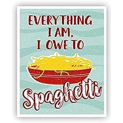 Spaghetti Poster Pasta Art, Italian Kitchen,11 x 14
