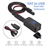 ePathChina SAE to USB Adapter with Voltmeter, 12V-24V 2.1A Waterproof Dual Port Power Socket Smart Phone Tablet GPS Charger for Motorcycle Car Boat Marine