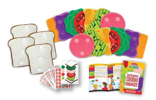 Melissa & Doug Sandwich Stacking Action Games - 10 Games, 4 Bread Slice Gloves, 14 Fillings