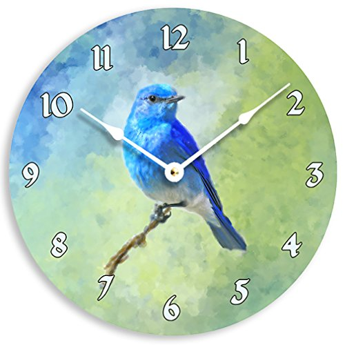 Contemporary 10 inch wall or kitchen clock. Bluebird or blue jay on a branch impressionist image.
