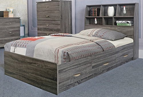 Benzara Contemporary Style Grey Finish Twin Size Chest Bed with 3 Drawers on Metal Glides - Style 3 Drawer Chest