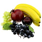 Gresorth Mixed Fruits Fake Banana Grape Brin Pomegranate Set Artificial Fruit for Christmas Party