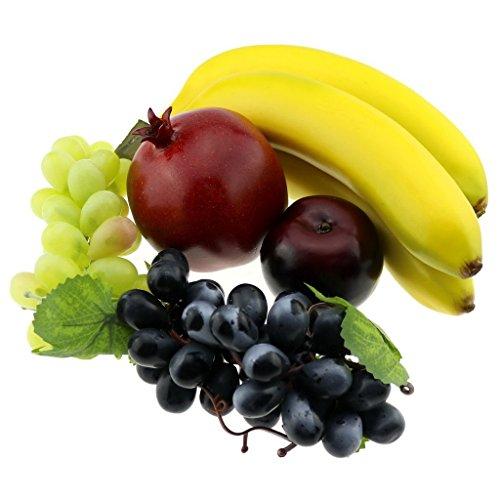 Gresorth Mixed Fruits Fake Banana Grape Brin Pomegranate Set Artificial Fruit for Christmas Party by Gresorth