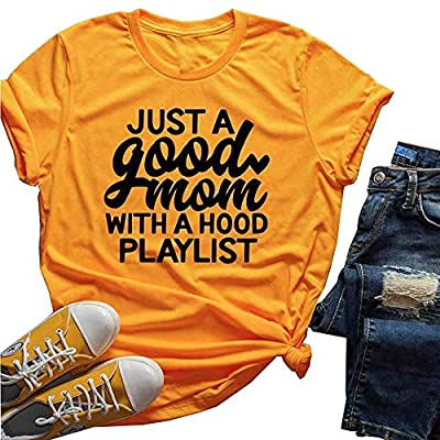 Women Just A Good Mom with A Hood Playlist T-Shirt Short Sleeve Funny Letter Print Tee Tops