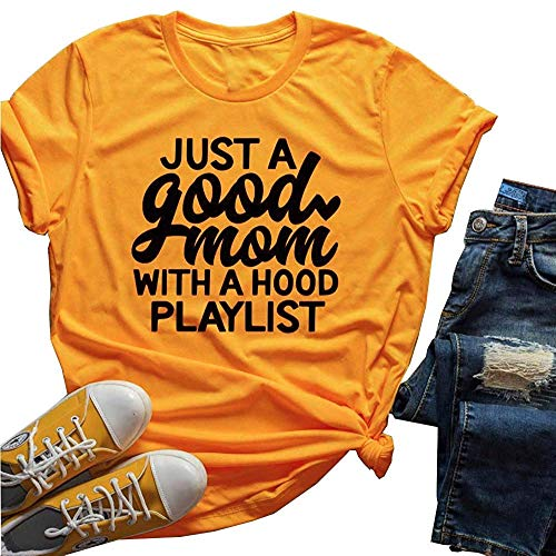 Yellow T-shirt Hood - Women Just A Good Mom with A Hood Playlist T-Shirt Short Sleeve Funny Letter Print Tee Tops (L) Yellow
