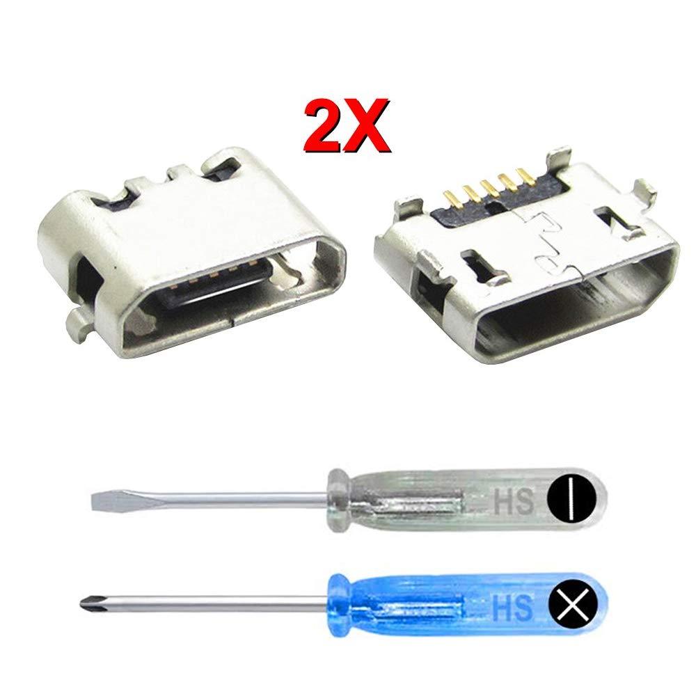 MMOBIEL 2X Conector Dock Puerto Cargador Soporte de alimentación Jack Socket para Huawei P8 Lite (2016) Incl 2X Destornilladores y una Palanca ...
