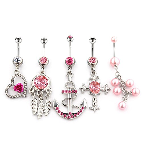 Vcmart 5pcs 14g dangle belly button rings set navel ring for Body jewelry cheap prices