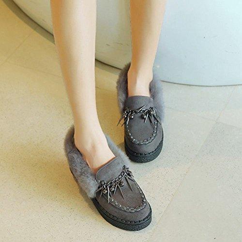 Schuhe stilvolle Plattform Loafer Dekorationen Carolbar Damenmode warme grau wYz1qO