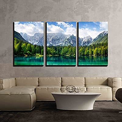3 Piece Canvas Wall Art - Beautiful Landscape with Turquoise Lake, Forest and Mountains - Modern Home Art Stretched and Framed Ready to Hang - 24
