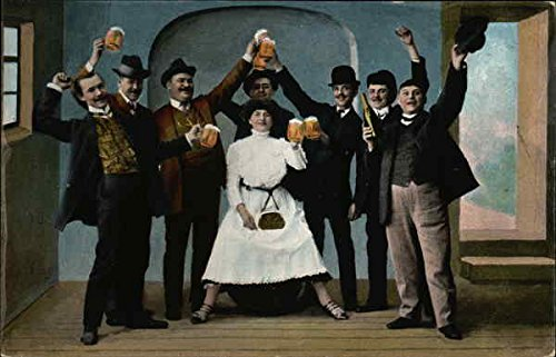 Men And Woman Celebrating With Beer Breweriana Original Vintage Postcard from CardCow Vintage Postcards
