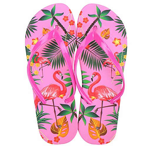 (Women's Flamingo Flip Flops Beach Flat Thong Sandal No-Slip Slippers (8 B(M) US, Red))