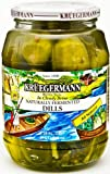 Fermented dills are made from fresh cucumbers. Genuine dill pickles are placed into a mild salt solution, which allows naturally occurring Lactobacillus to ferment all sugars present in the cucumbers. The result is lactic acid, appearing as a...