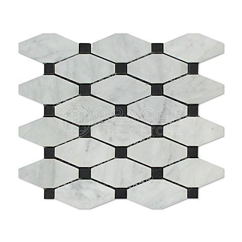 Carrara White Italian (Bianco Carrara) Marble Octave Pattern Mosaic Tile (Black Marble Dots, Polished) by Oracle Tile & Stone