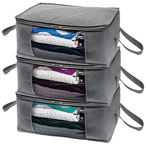 Winter Storage - Woffit Foldable Storage Bag Organizers, Large Clear Window & Carry Handles, Great for Clothes, Blankets, Towels, Winter & Summer Clothing, Closets, Bedrooms, Under Bed & More (Large)