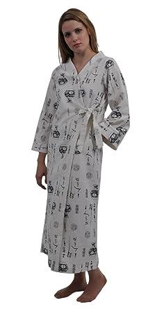 Dynasty Robes Women s Long Printed Cotton Robe with Kimono Collar ... 7bde9e12c