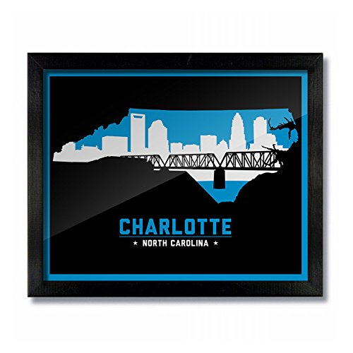 Charlotte, North Carolina Skyline Vintage Poster Print: 16x20 - Charlotte Nc Outlets