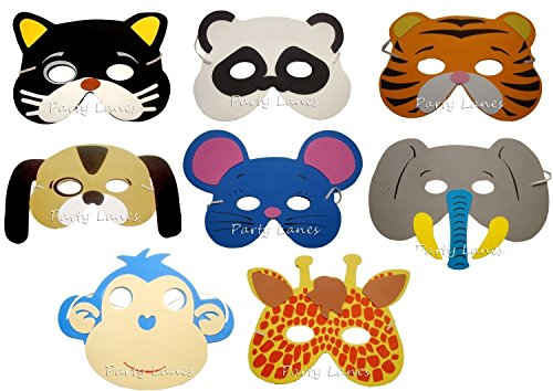 LiangTing Pack of 24 Assorted Party Favor Children's Foam Animal (Printable Masks For Halloween)