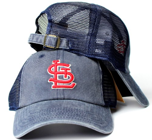 American Needle St. Louis Cardinals MLB Raglan Bones Soft Mesh Back Slouch Twill Cap Navy