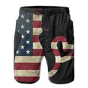 Los hombres de verano playa para hombre bandera de Estados Unidos Cat Love Surf Board pantalones cortos para hombre