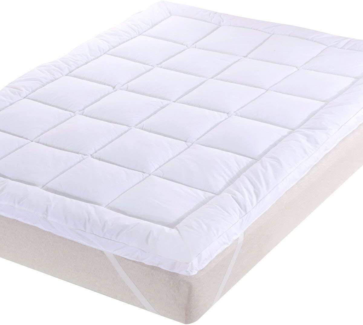 Royal Hotel Abripedic Plush Cotton Mattress Topper, King, 2 Inches Hypoallergenic Overfilled Down Alternative Anchor Bands Mattress Topper